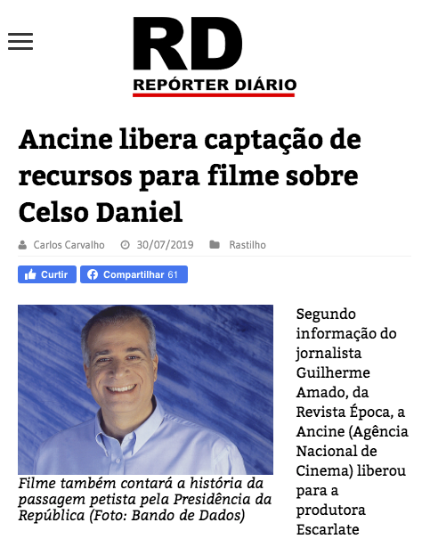 Ancine libera captação de recursos para filme sobre Celso Daniel