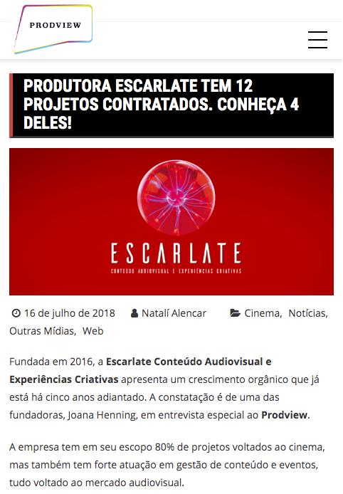 Escarlate tem 12 projetos contratados. Conheça 4 deles.