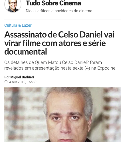 Assassinato de Celso Daniel vai virar filme documento com atores e série documental