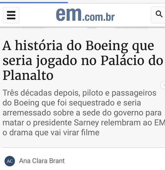 A história do Boeing que seria jogado no Palácio do Planalto 30 anos atrás