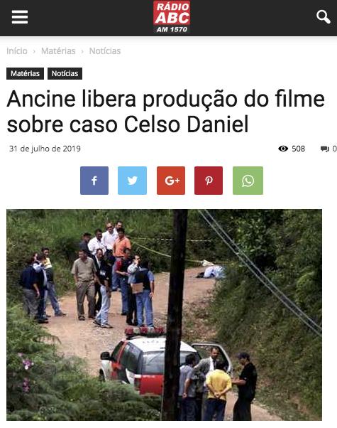 Ancine libera producao do filme sobre caso Celso Daniel