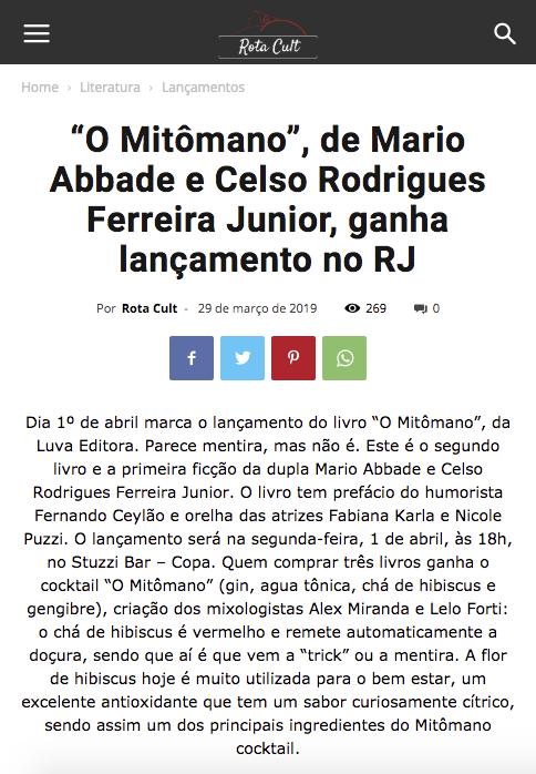 """""""O Mitômano, de Mario Abbade e Celso Rodrigues Ferreira Junior, ganha lançamento no RJ"""