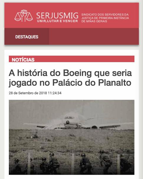 A história do Boeing que seria jogado no Palácio do Planalto