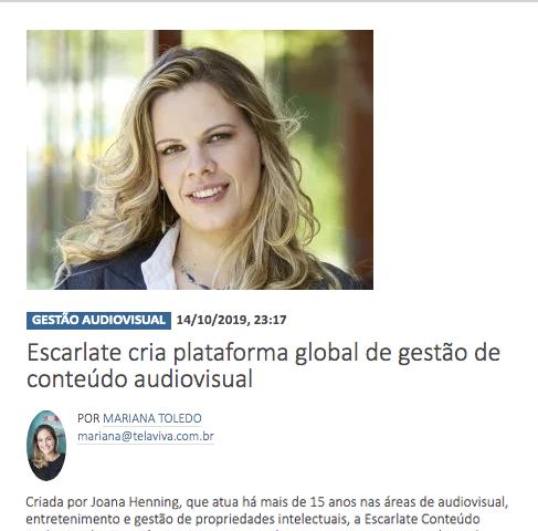 Escarlate cria plataforma global de destao de conteudo audiovisual